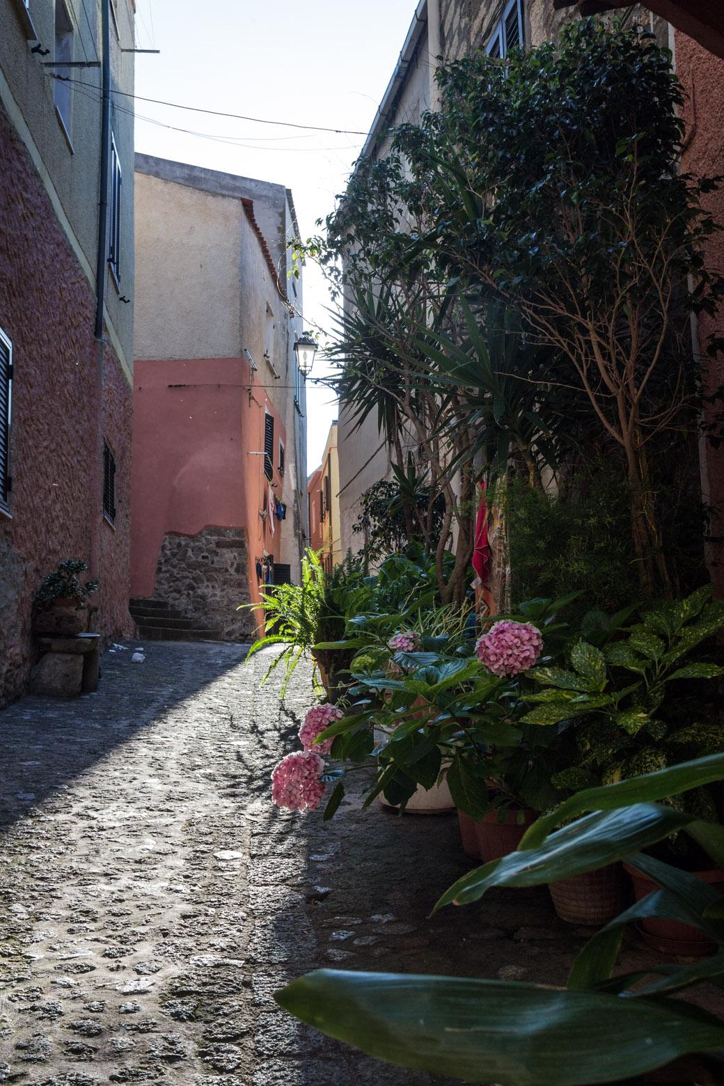 In den Gässchen von Castelsardo kann man sich vor der Sonne schützen.